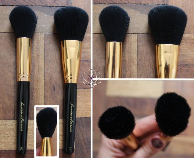 pincéis kit profissional luciane ferraz: pó e blush