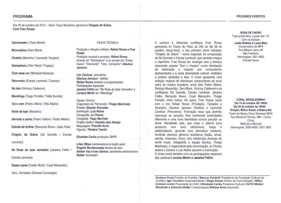 Programa Paiol Chapéu de Sobra 2013 - 2