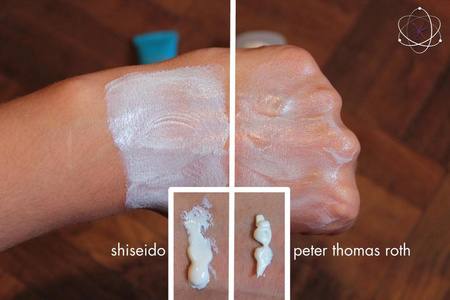 amostra protetores solares shiseido peter thomas roth