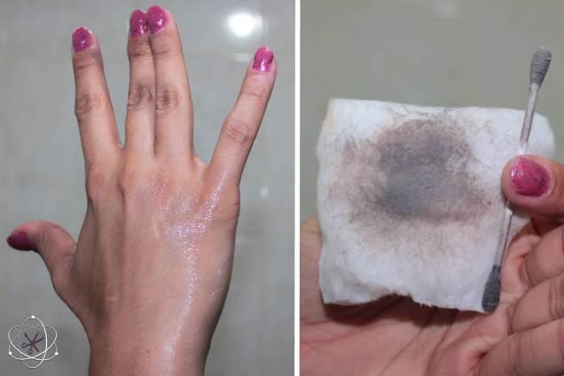 Demaquilante bifásico Take The Day Off da Cliniqu - uso com dedos e cotonete
